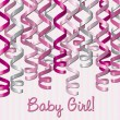 Curling ribbon inspired baby girl card — Stock Photo