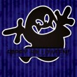 Ghost 'Happy Halloween' sticker card — ストック写真