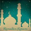 "White gold silver Mosque and stars ""Ramadan Kareem"" (Generous Ramadan) card — Stock Photo"