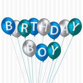 Birthday Boy blue balloon card — Stock Photo
