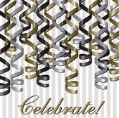 Curling ribbon inspired celebration card — Stock Photo