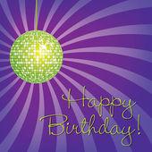 Green disco ball Happy Birthday card — Stock Photo