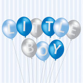 Little Boy blue balloon card — Stock Photo