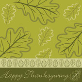 Hand dras ekollon blad thanksgiving kort — Stockfoto