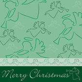 "Hand drawn angel ""Merry Christmas"" card — Stock Photo"