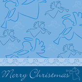 "Hand drawn angel ""Merry Christmas"" card — Стоковое фото"