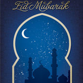 "Gold window ""Eid Mubarak"" (Blessed Eid) card — Stock Photo"