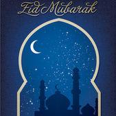 "Gold window ""Eid Mubarak"" (Blessed Eid) card — Stock Photo"