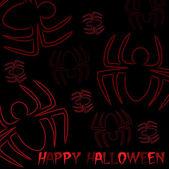 Spider hand drawn 'Happy Halloween' card — Stock Photo