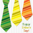 Bright Happy Fathers Day neck tie card in vector format — Stock Photo