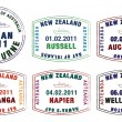 Vector stylised passport stamps from Australia and New Zealand — Stock Photo