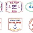 A collection of stylised vector passport stamps from Asia, India and Australia on a white background - Stock Photo