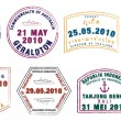 Asian passport stamps in vector format - Stock Photo