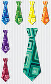 Bright retro square silk tie stickers in vector format — Stock Photo