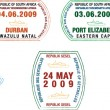A collection of stylised vector African and island passport stamps on a white background - Stock Photo
