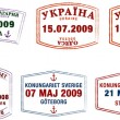 A collection of stylised vector Northern European passport stamps on a white background — Stock Photo #15360225