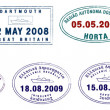 A collection of stylised vector European passport stamps on a white background — Stock Photo