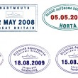Collection of stylised vector Europepassport stamps on white background — Stock Photo #15360345