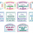 Hawaiian, French Polynesian and Fijian passport stamps in vector format — Stock Photo