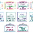 Hawaiian, French Polynesian and Fijian passport stamps in vector format - Stock Photo