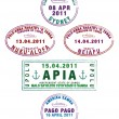 Sydney, Tongan and Samoan passport stamps in vector format - Stock Photo