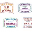 The top 10 worlds busiest airports passport stamps in vector format - Stock Photo