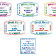 Hawaii and French Polynesia passport stamps in vector format — Stock Photo