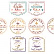 Stylized passport stamps of Jordan and Syria in vector format - Stock Photo