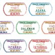Royalty-Free Stock Photo: Stylized Turkish passport stamp set in vector format