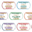 Stylized Turkish passport stamp set in vector format - Stock Photo