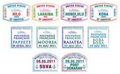 Hawaiian, French Polynesian and Fijian passport stamps in vector format — Stock Photo