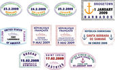 Caribbean and South American Passport Stamps — Stock Photo