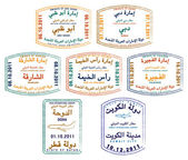 Stylized passport stamps of the United Arab Emirates, Kuwait and Qatar in vector format — Stock Photo