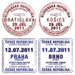 Passport stamps of Czech Republic and Slovakia - Stock Photo