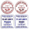 Passport stamps of Czech Republic and Slovakia - ストック写真