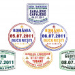 Passport stamps from Bosnia and Herzegovina, Romania, Serbia and Albania - Stock Photo