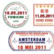 A collection of world airport stamps - Stock Photo