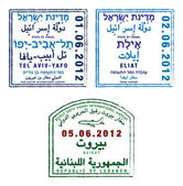Stylized passport stamps of Israel and Lebanon in vector format — Stock Photo