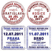 Passport stamps of Czech Republic and Slovakia — Stock Photo