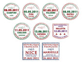 Passport stamps from Italy, Malta and France — Stock Photo