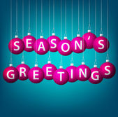 Seasons greatings hanging bauble card in vector format — 图库矢量图片