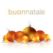 Italian Merry Christmas bauble card in vector format — Vetor de Stock