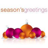 Seasons Greetings bauble card in vector format — Stock Vector