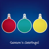Seasons Greetings sticker bauble card in vector format — Stock Vector