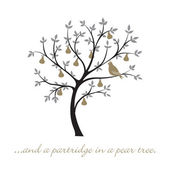 """...and a partridge in a pear tree"" Christmas card in vector format. — Stock Vector"