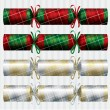 Plaid and Tartan Christmas crackers in vector format - Stok Vektör
