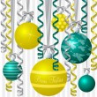 "Brazillian Portuguese aqua and yellow ribbon and bauble inspired ""Merry Christmas"" card in vector format. — Stock Vector"