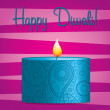 Bright pink and blue Diwali card in vector format - Stock Vector
