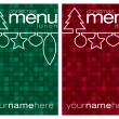 Stock Vector: Red and green mosaic line Christmas lunch and dinner menus in vector format