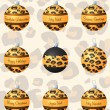 Leopard inspired Christmas baubles in vector format - Stok Vektör